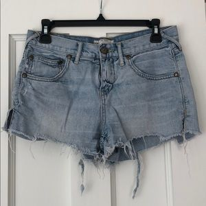 Free people distressed jean shorts, size 26